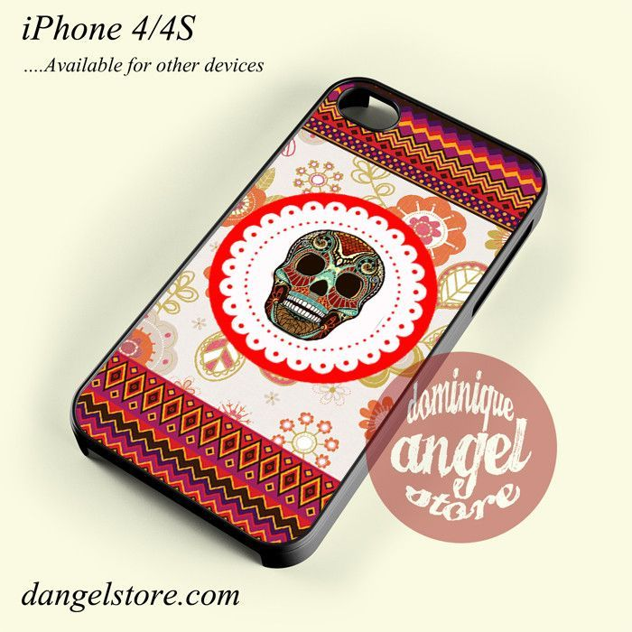 Awesome Floral Aztec Skull Phone case for iPhone 4/4s and another iPhone devices