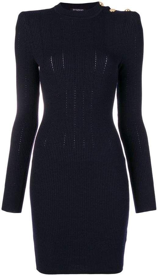 8c5cf3a6608 Balmain silhouette fitted dress