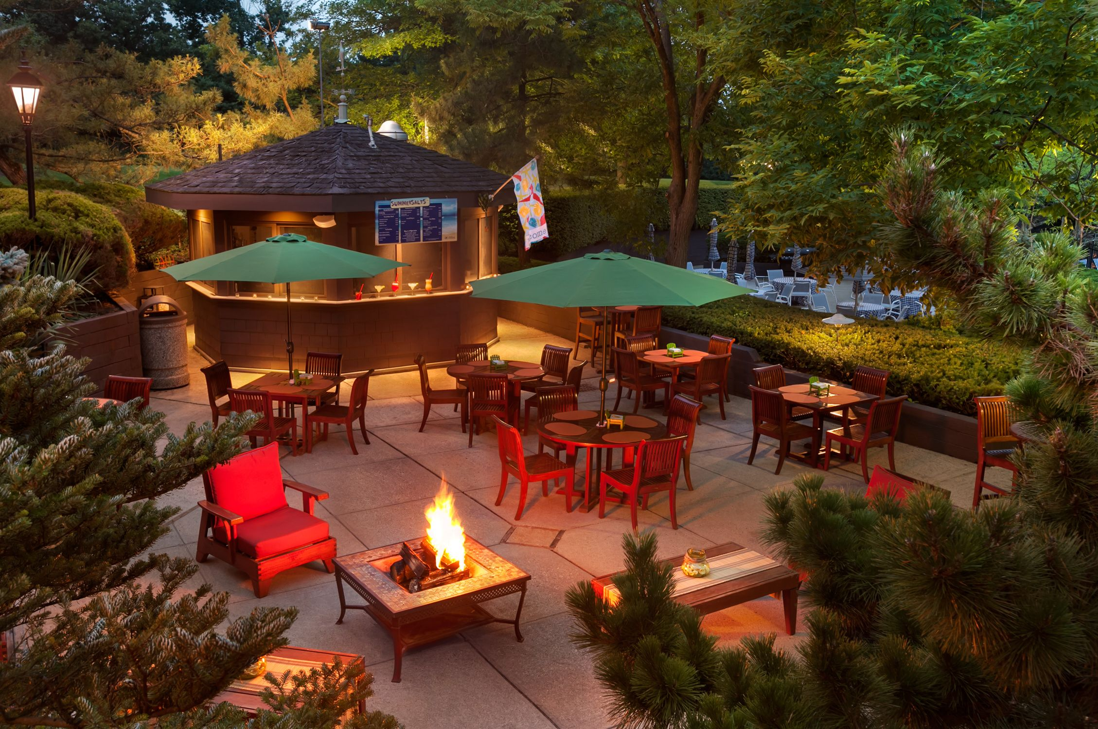 Our hotel's lower terrace offers seasonal outdoor seating and dining. Enjoy smores over the open fire pits or enjoy casual conversation with friends over cocktails.