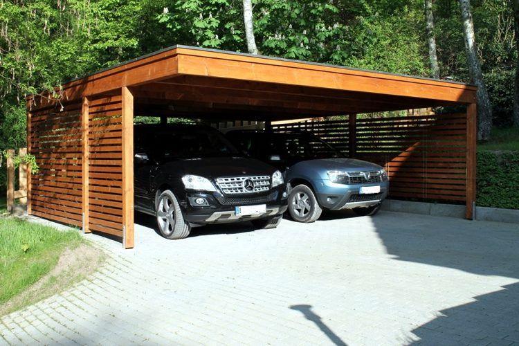 abri pour voiture en bois massif à toit plat de design autoporté