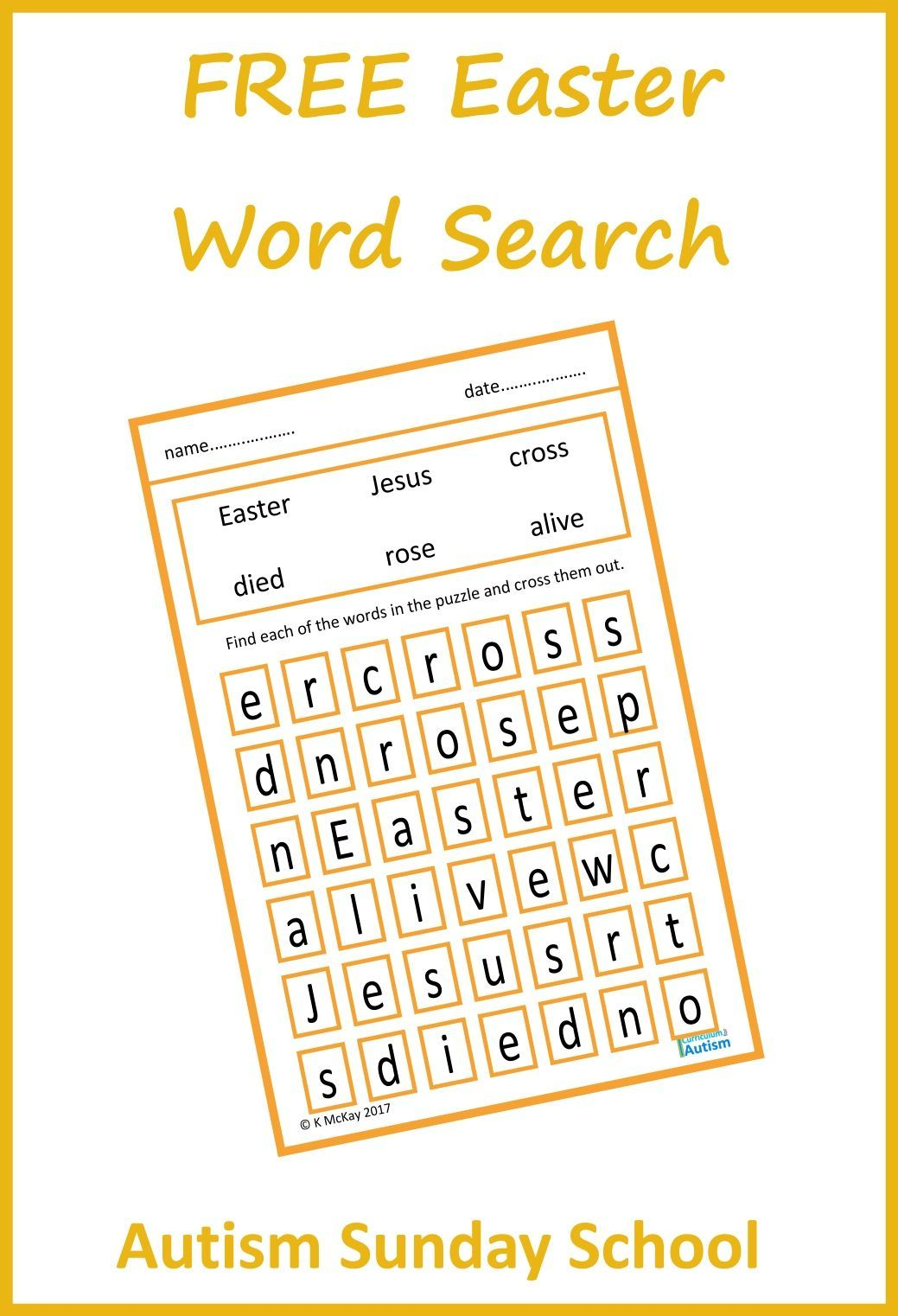Free Easter Story Word Search Amp Fill In Sheet