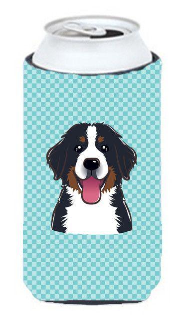 Checkerboard Blue Bernese Mountain Dog Tall Boy Beverage Insulator Hugger BB1175TBC