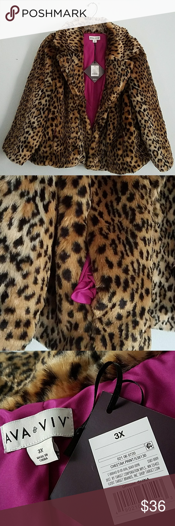 3922a93ac0b39 Sassy Ava Viv animal print faux fur coat Sassy Ava Viv animal print faux  fur coat for warmth and comfort Brand new with tags 100 % polyester lining  A line ...