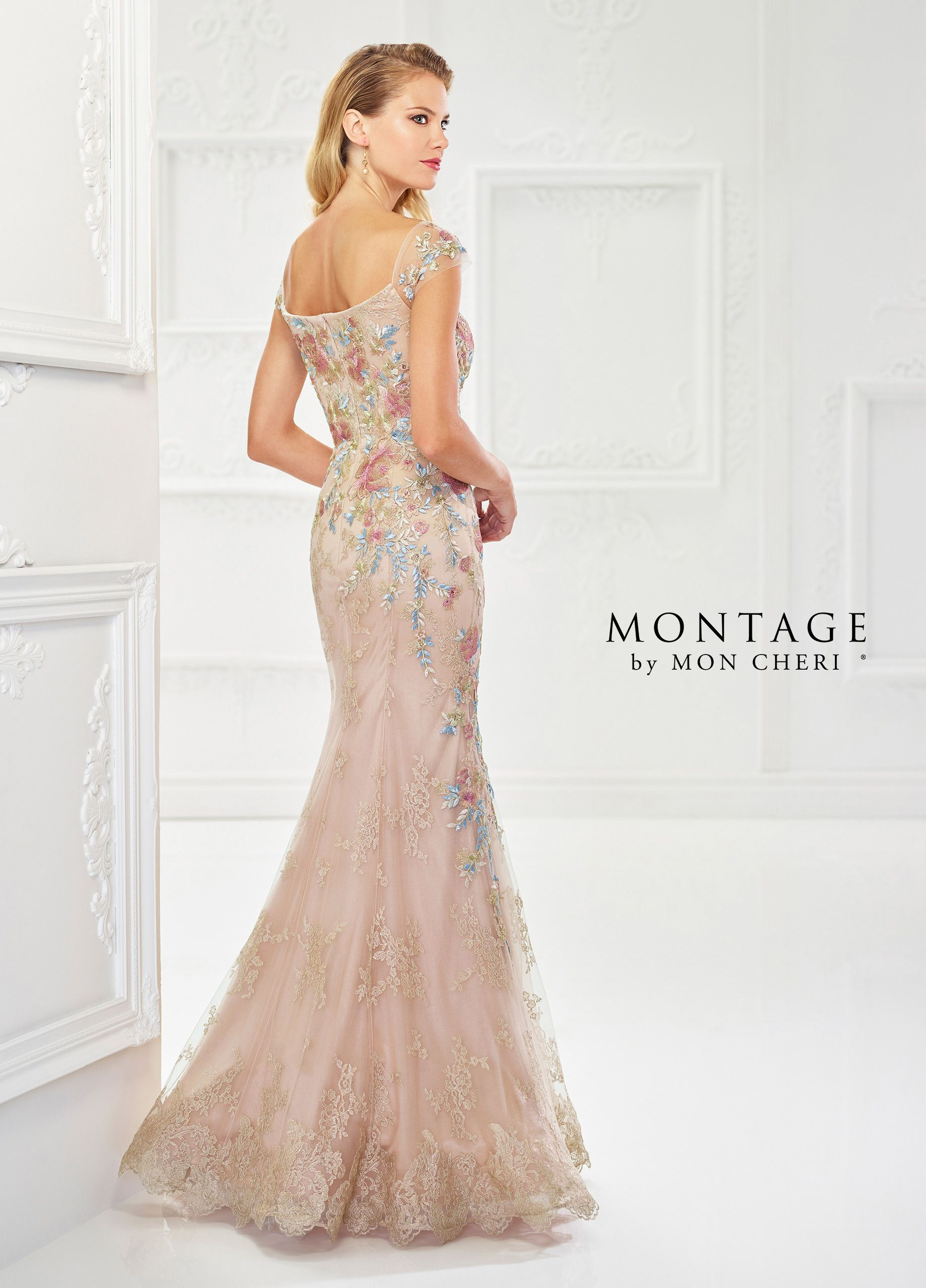 3be6231126b Montage By Mon Cheri 118966 - Eye-catching floral embroidery takes center  stage in this beautiful metallic lace and tulle fit and flare gown with  heat set ...