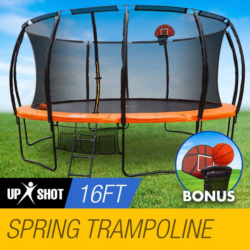 NEW 16ft Round Trampoline FREE Basketball Set+Safety Net