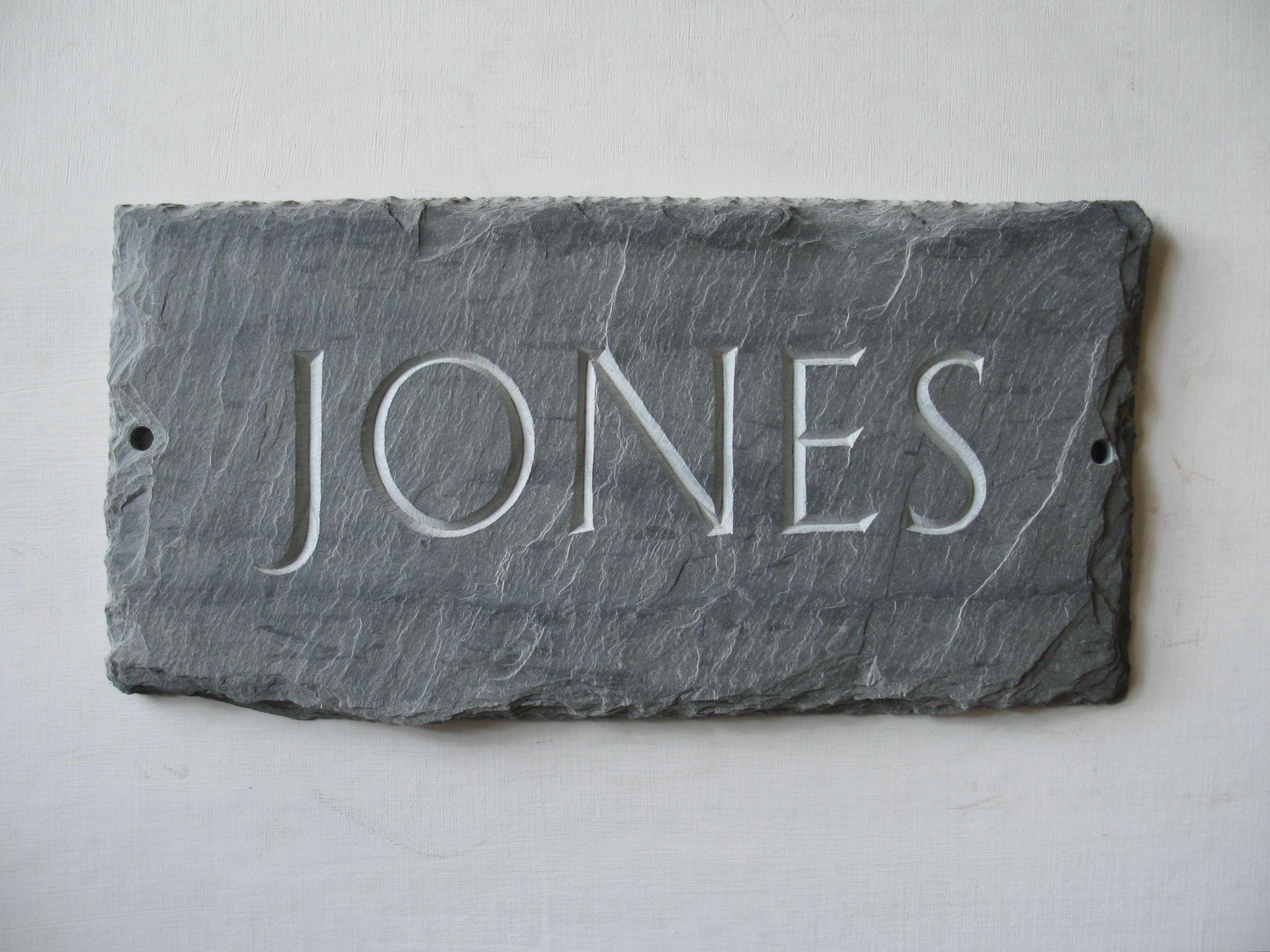 slate roof tile hand carved v cut name plaque for home outside or