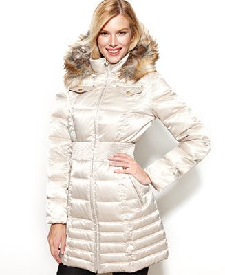 Laundry By Shelli Segal Faux Fur Trim Hooded Down Puffer Coat