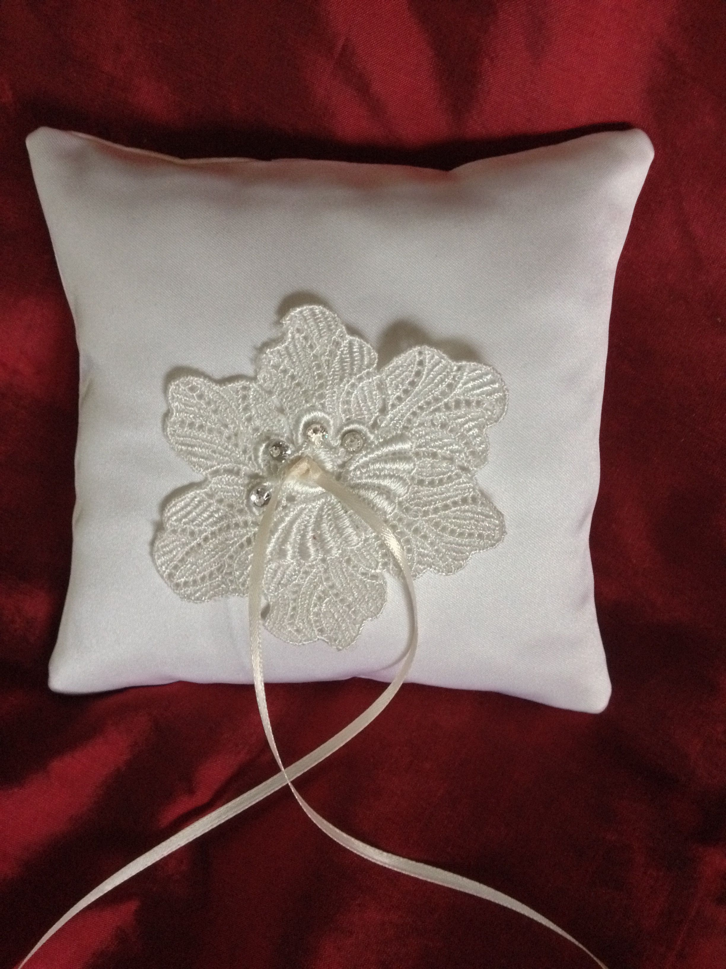 Most beautiful hand made ring pillow - 100% silk with floating flower applique from French embroidered lace and rhinestones beads.  Limited addition.  Feel free to contact us at: www.alterationsavenue.com