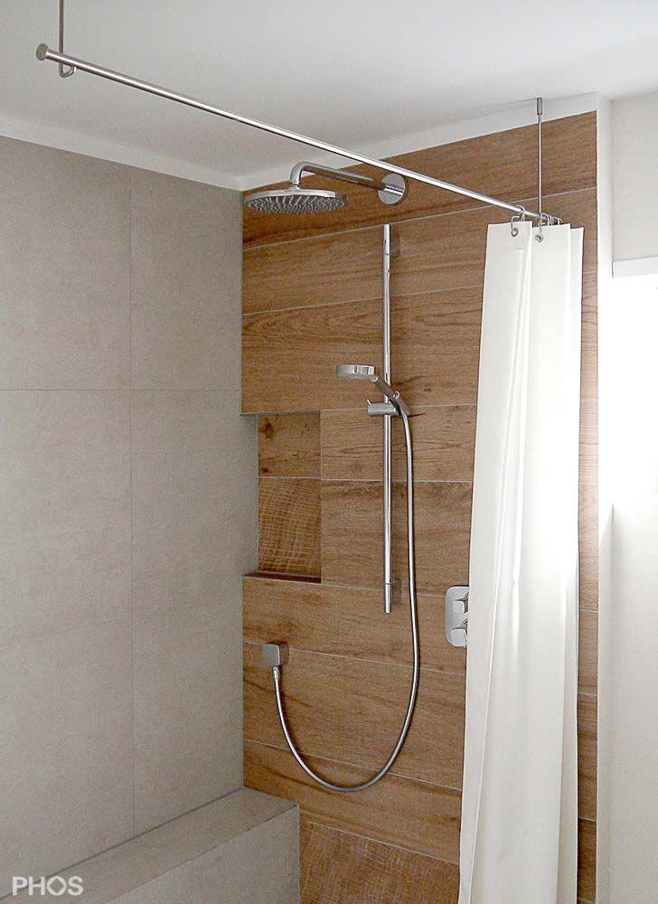 Duschvorhangstange mit Deckenhalterung aus Edelstahl