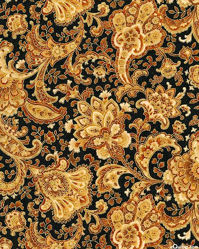 from eQuilter - Hoffman Fabrics Florence collection - Firenze Flowers - Black/Gold