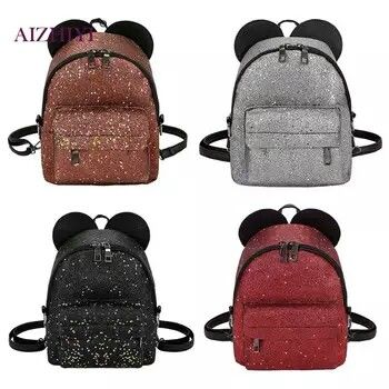 Shining Sequins Women Cute Small Backpacks PU Leather School Bags Girls  Princess Shoulder Bag 2018 New Fashion Female Backpack рюкзак dc619bcb9fe5f