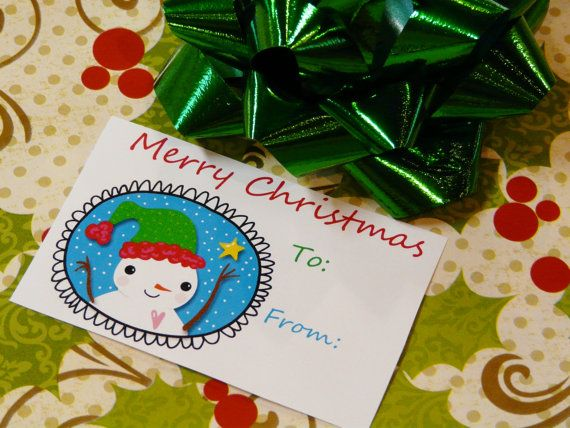 Merry Christmas Snowman tags PDF  gift wrapping by Hudsonsholidays