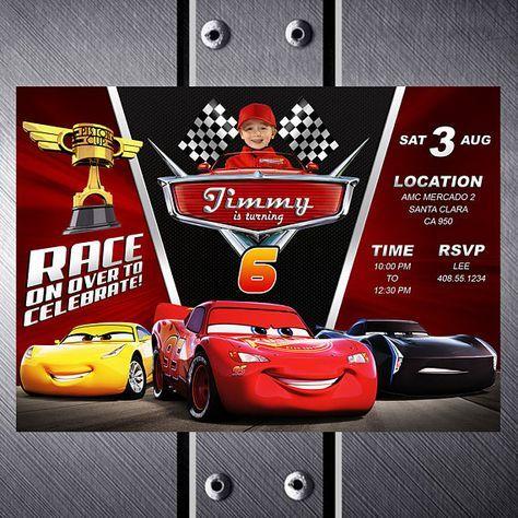 Disney Cars 3 Birthday Invitation Party Invite Lightning McQueen Printable