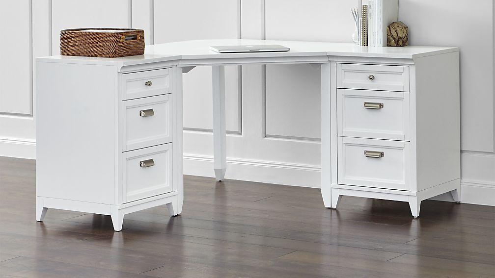 Delicieux Harrison 3 Piece White Corner Desk Cabinet Suite | Crate And Barrel