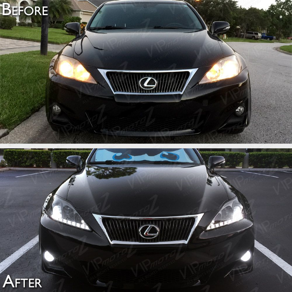06-13 Lexus IS250 IS350 Smoke DRL Light Bar Projector Headlights Left Right  Pair