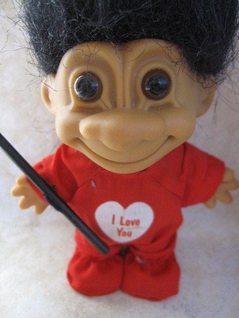 three vintage valentine troll dolls i love you i m not old i m