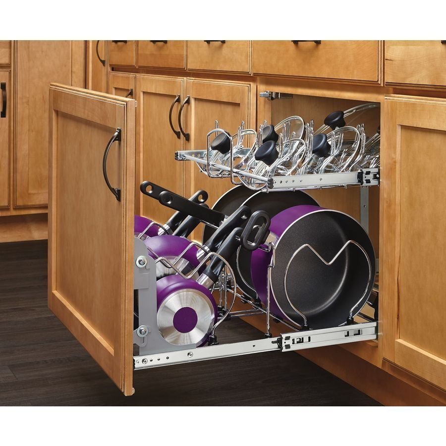 Kitchen Cabinet Pot Organizer: Shop Rev-A-Shelf Pull Out Trash Can Mounting Kit At Lowe's