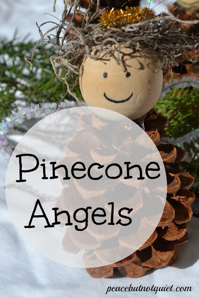 Make these fun pinecone angel christmas crafts for kids for Crafts made with pine cones for christmas