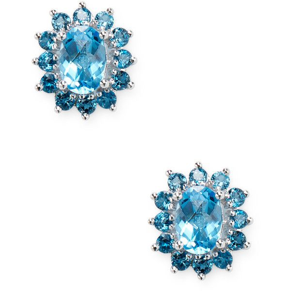 3fd6cfade89f EFFY Women s 14K White Gold Blue Topaz Earrings - Blue (465 BAM) ❤ liked