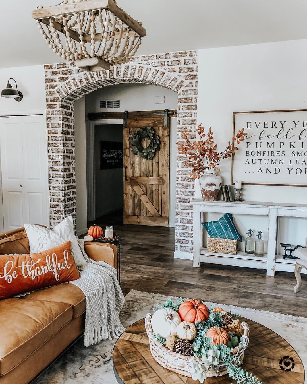 Fall modern farmhouse living room faux brick leather