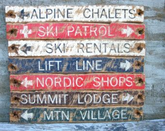 Photo of Rustic Wooden Ski Sign, Ski Lodge Decor, Ski Trail Signs, Lodge Signs, Cabin Signs, Cabin Decor Set Distressed
