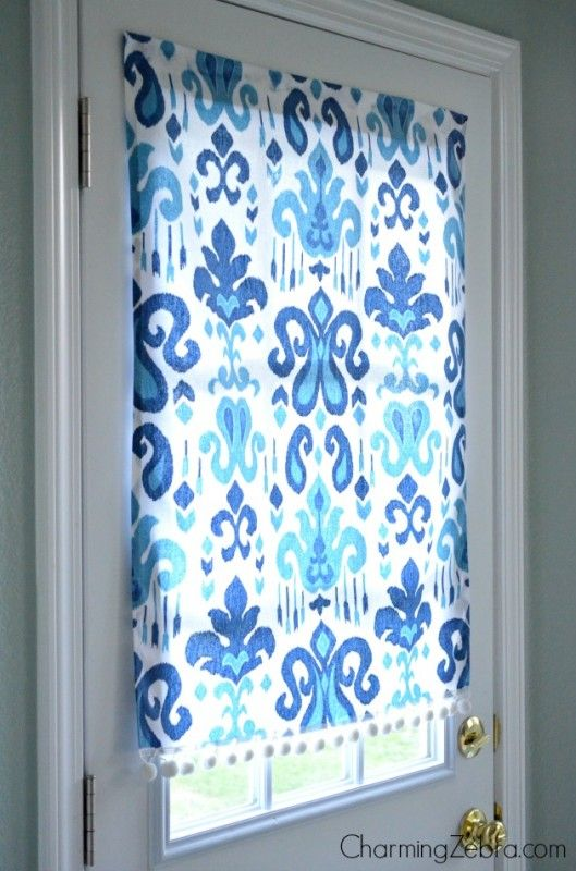 How To Make A No Sew Magnetic Window Blind   Tutorial Shows How To Make A  Fabric Blind For A Metal Door Using Fabric, Glue, Trim And Magnets.