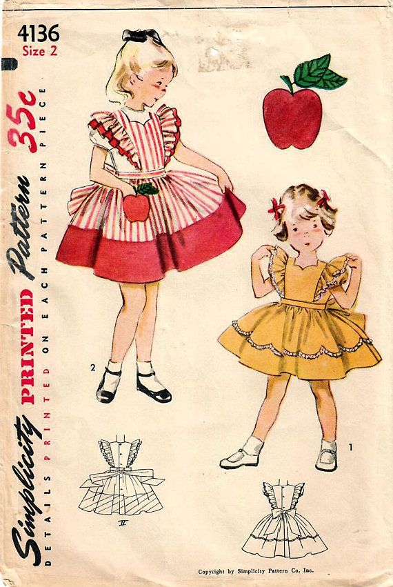 1950s Simplicity 4136 Vintage Sewing Pattern Toddler Girls ...