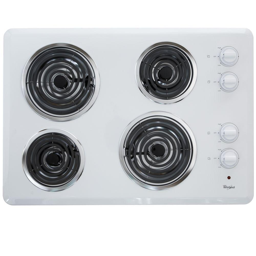 Whirlpool 30 In Coil Electric Cooktop In White With 4 Elements Wcc31430aw The Home Depot Electric Cooktop Cooktop Buying Appliances