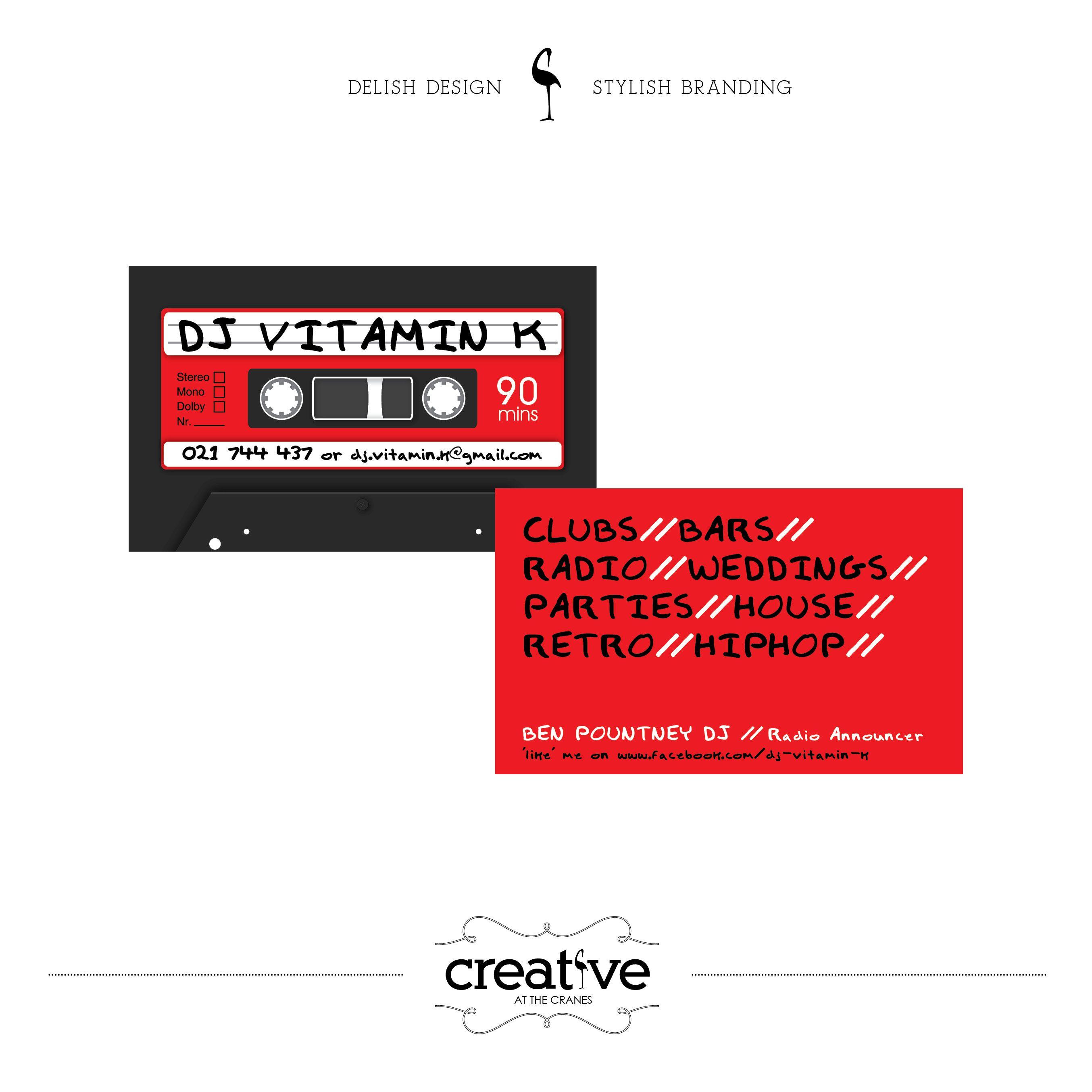 Carte De Visite DJ Vitamin K Business Cards Vitamins Crane Dj Creative