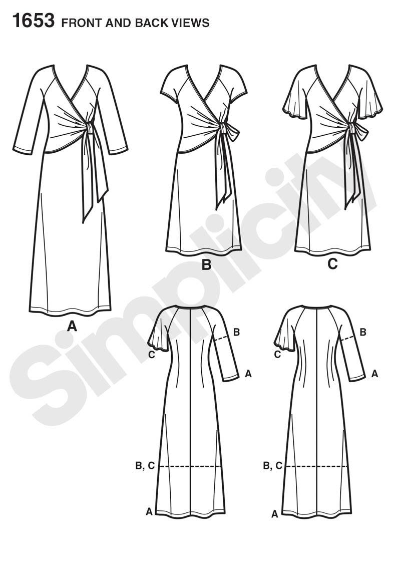 Simplicity 1653 Misses And Plus Dress Fitted Knit Dress Wrap Dress Pattern Plus Size Sewing Patterns [ 1142 x 795 Pixel ]