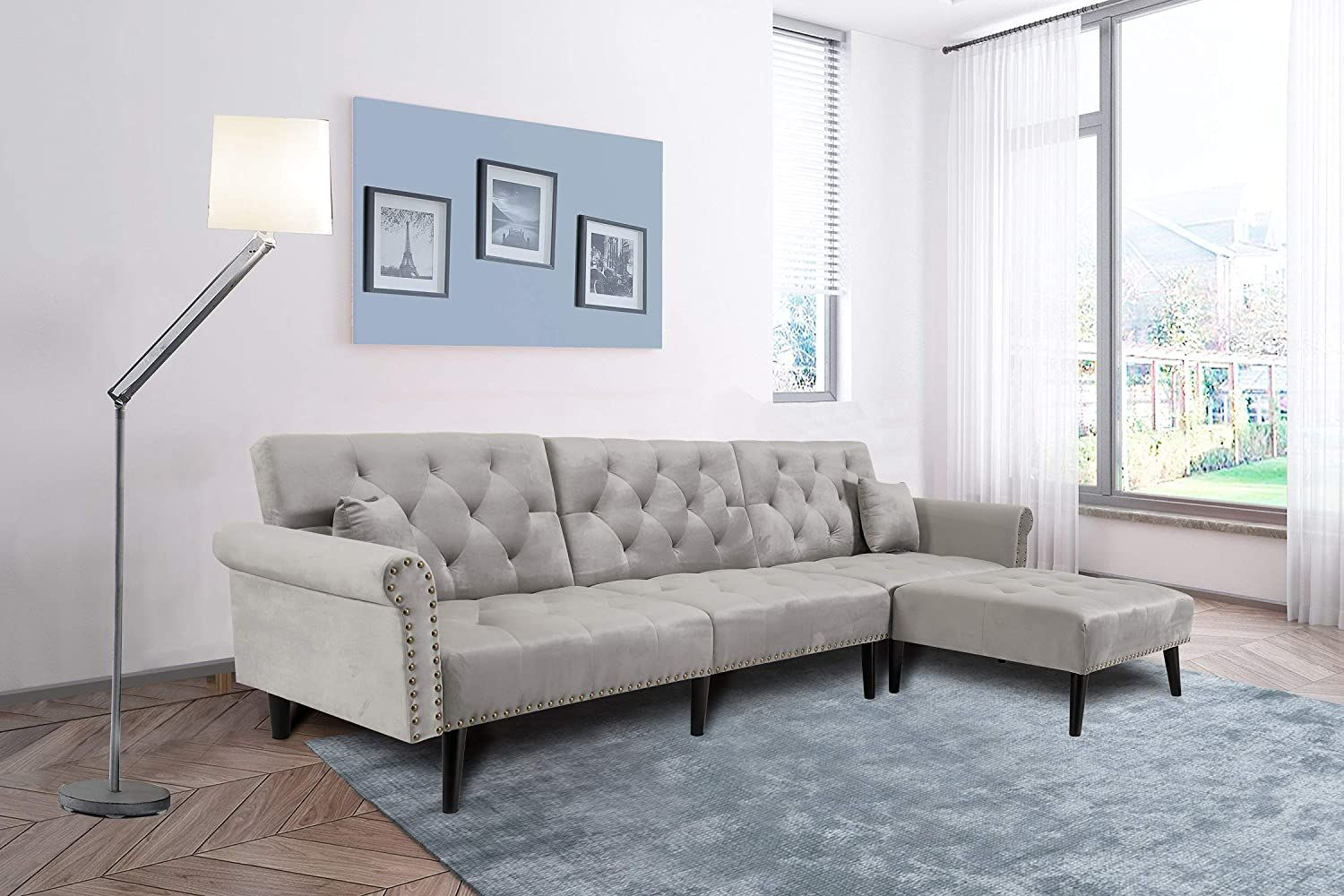 Mid Century Upholstered Convertible Sectional Sofa Futon Couch Chaise Sleeper With Adjustab In 2020 Grey Sectional Sofa Sofas For Small Spaces Small Space Sleeper Sofa