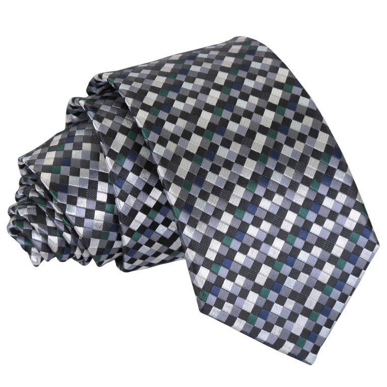 DQT Knit Knitted Checkered Check White Grey Casual Mens Skinny Tie