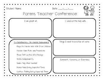 Early Childhood Parent Teacher Conference Form Parent Teacher Conference Forms Parents As Teachers Parent Teacher Conferences