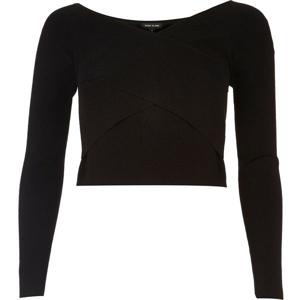 fd165b9f61d75d River Island Black bardot wrap crop top (£34) ❤ liked on Polyvore featuring  tops
