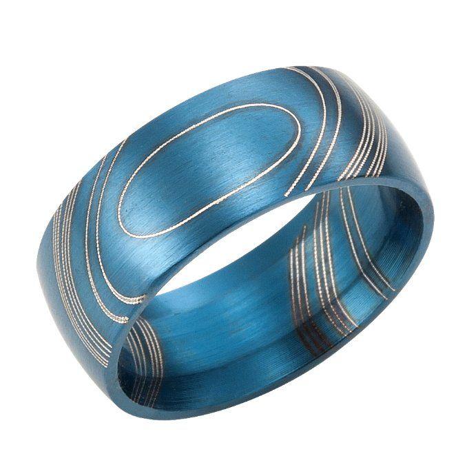 Blue Horizon Modern Art Stainless Steel Mens Ring Band
