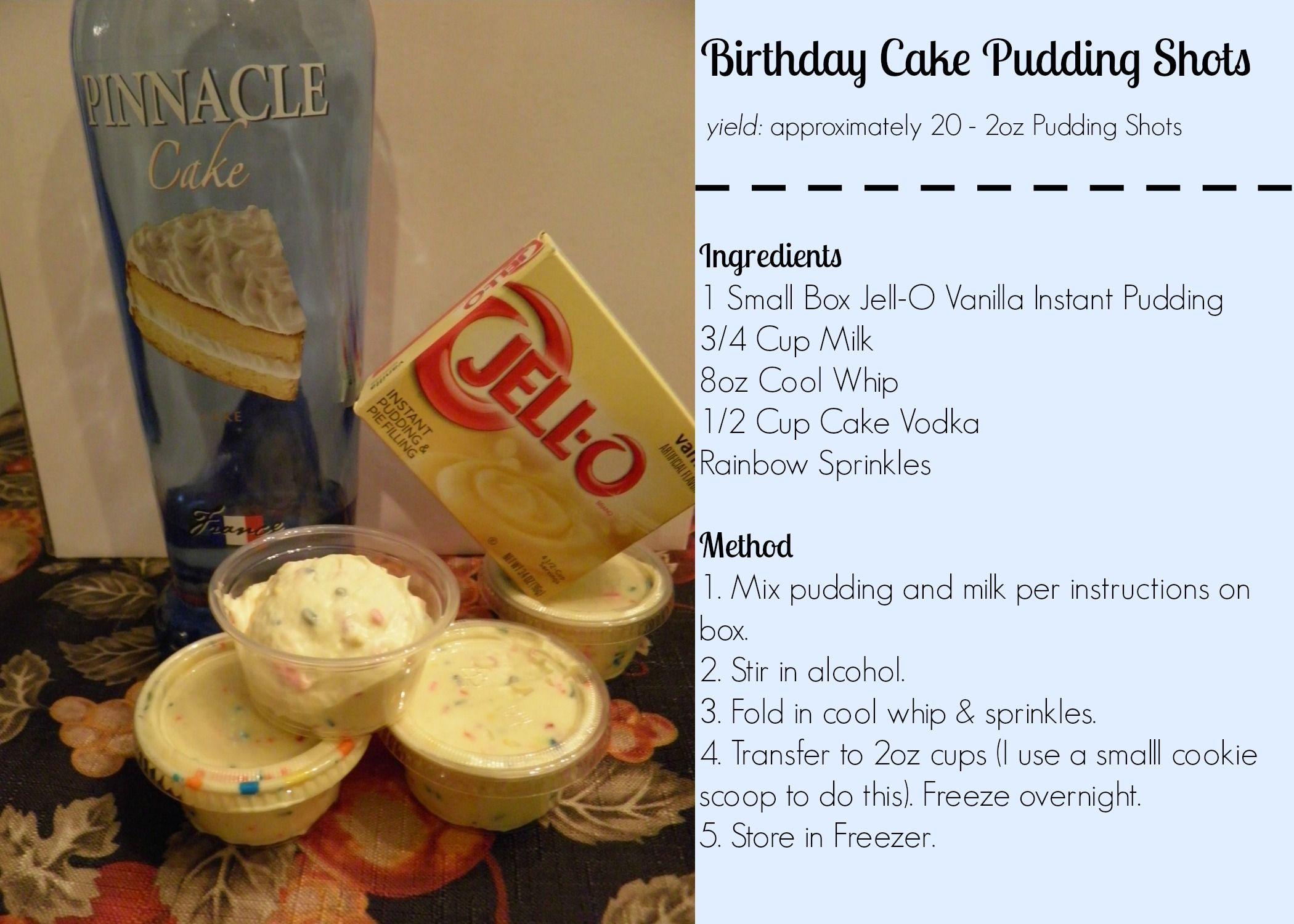 Birthday Cake Pudding Shots Pudding Shots Birthday Cake Shots Shot Recipes