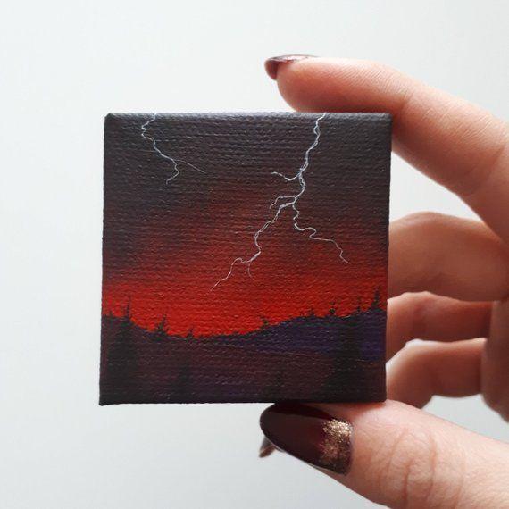 Stormy Sky, Red Sky Storm, Lightning Strikes, Bight Sunset, Colorful Painting, Miniature Art Cottage Painting, Moody Art, Dark Art, Tiny Art
