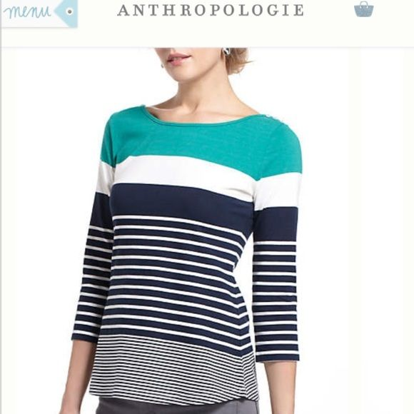 "Anthropologie boatneck button striped tee Tonalities Boatneck by one.september. Comfortable cotton/spandex. 25.5"" long. Worn only twice. Style No. 25805227. 3/4"" sleeves. Anthropologie Tops Tees - Long Sleeve"