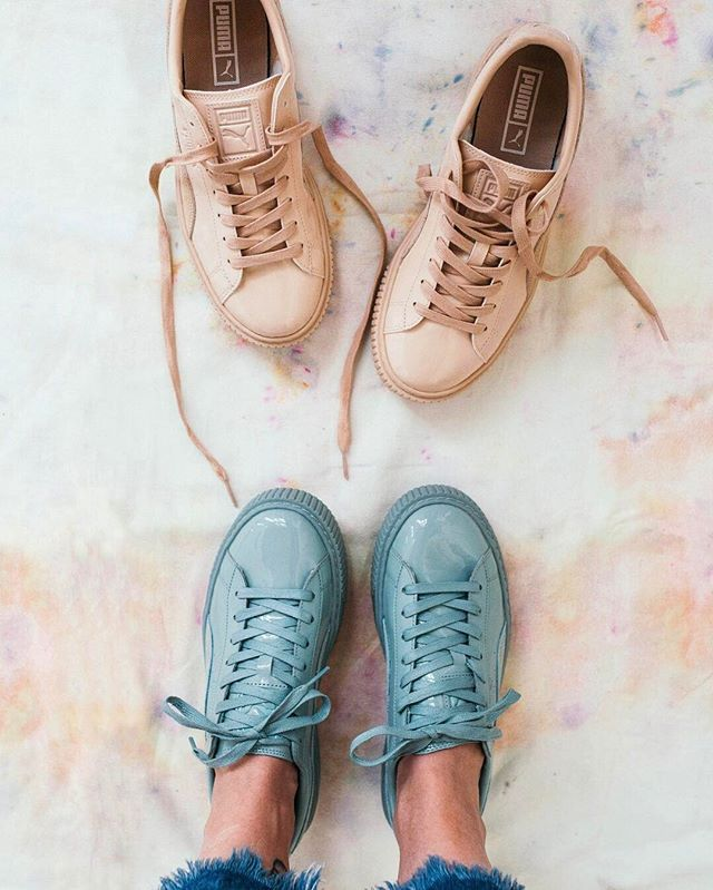 6badd9a484a355 Now online  the  PUMA Basket Patent Leather Platform sneaker in mint and  beige. (We re obsessed.) SKU  40609257  UOonYou