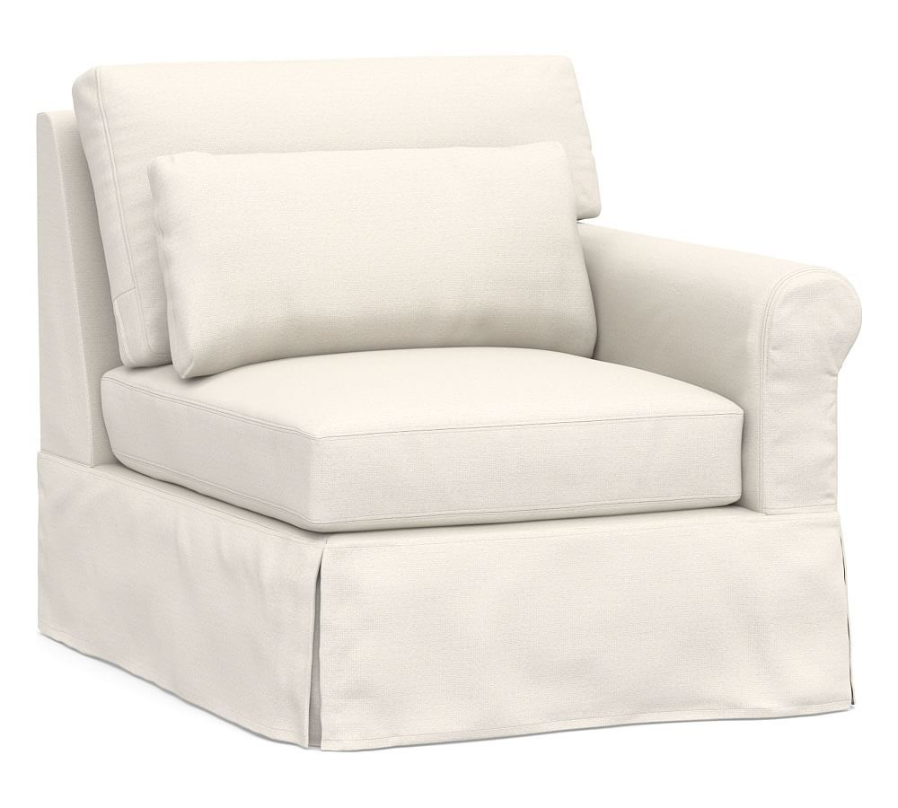 York Roll Arm Deep Seat Right Arm Loveseat With Bench Cushion Slipcover Chenille Basketweave Pebble Sectional Slipcover Slipcovers For Chairs Slipcovers