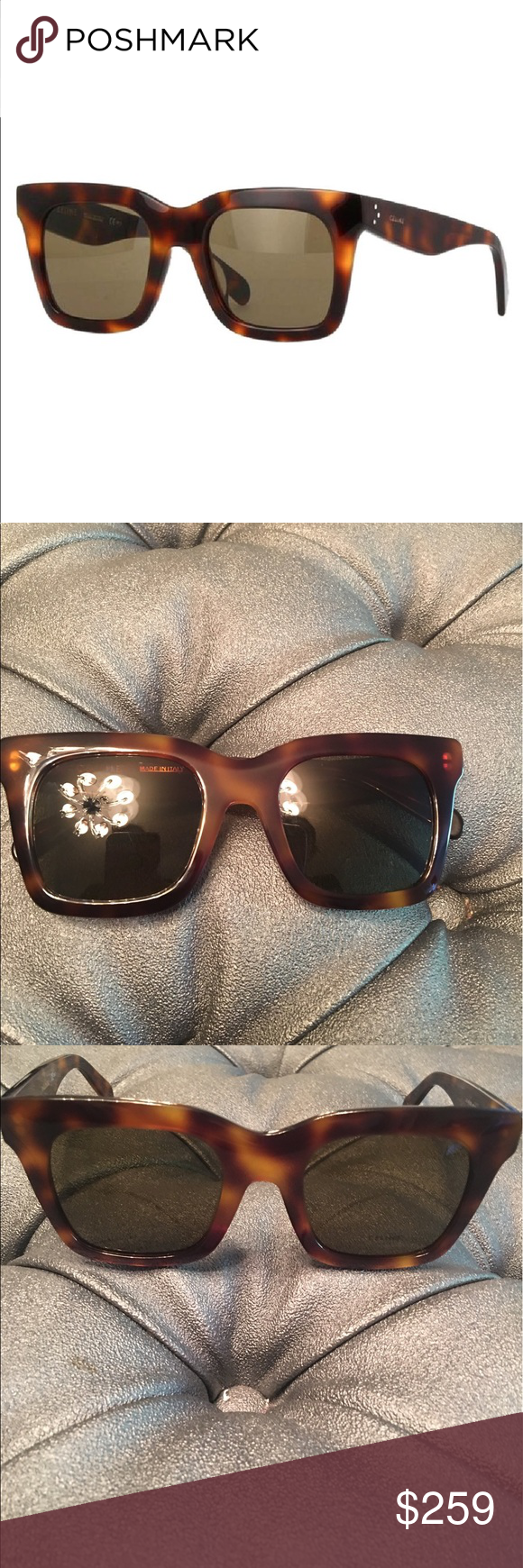 Celine Luca sunglasses Celine CL 41411/F/S Asian Fit sunglasses are great for any occasion. Have been tried on and may have hairline scratches on frame. The elegant color Havana brown makes this pair a great addition to any outfit. Made from Acetate and these stylish sunglasses are perfect for everyday. CL 41411/F/S 50 Asian Fit are truly a must have accessory. Celine soft case and glasses only 100% UV protection Celine Accessories Sunglasses