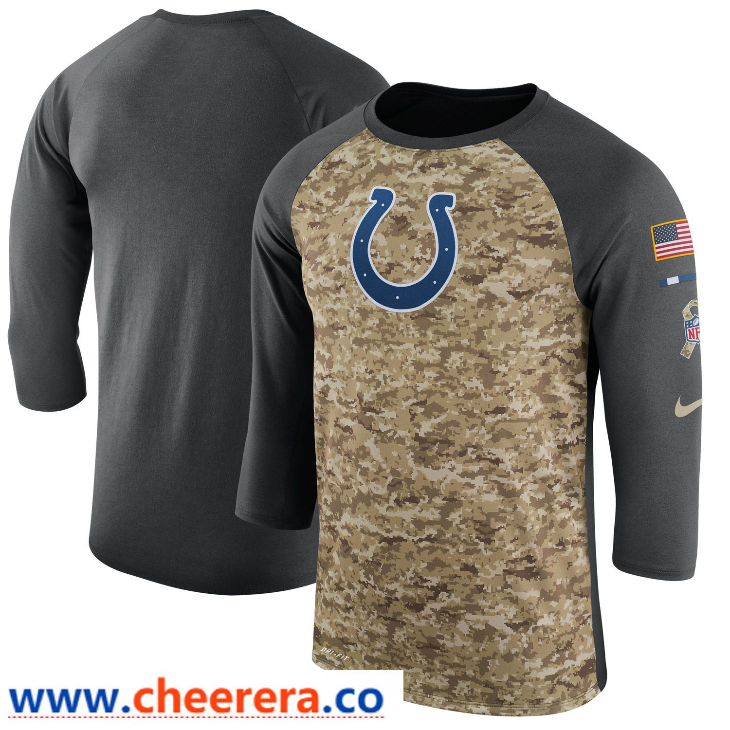 Men s Indianapolis Colts Nike Camo Anthracite Salute to Service Sideline  Legend Performance Three-Quarter Sleeve T Shirt 1178d5b3a