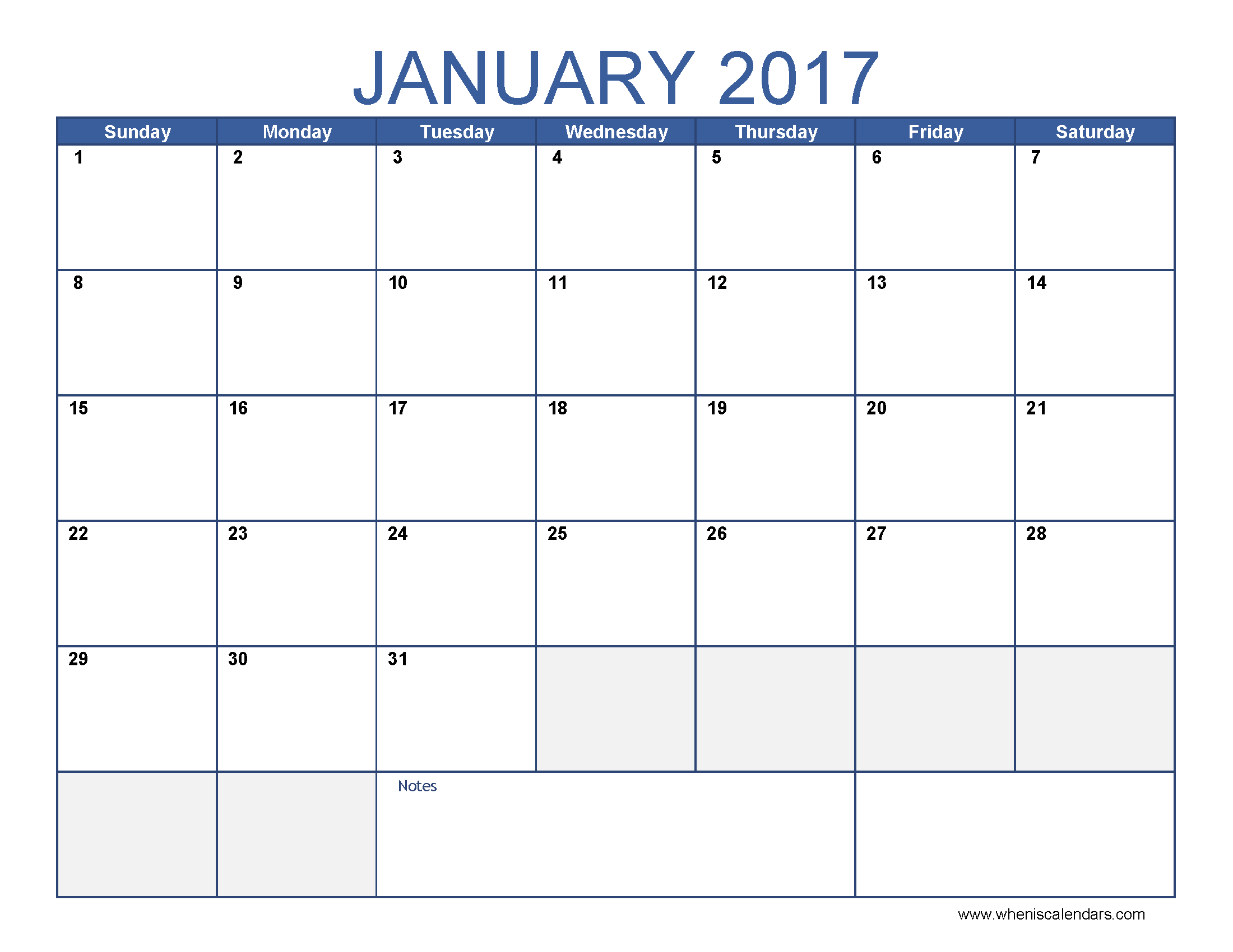 January  Calendar Printable  When Is Calendar  BobS Appts
