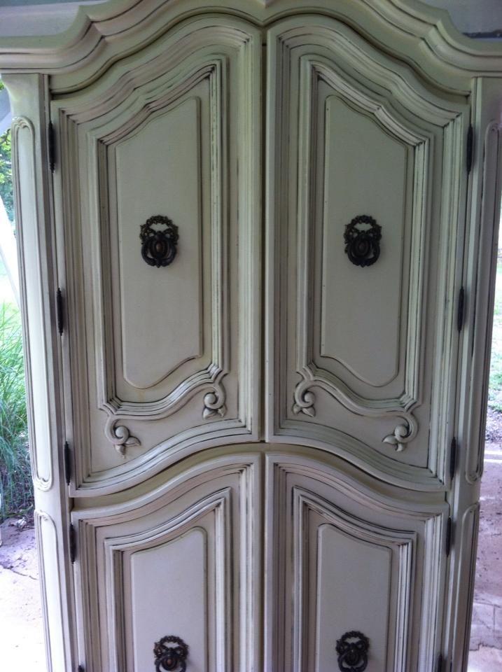 Beautiful Antique Armoire In Vanilla White With Dark Brass Hardware.  Refurbished Custom Furniture By Kasey