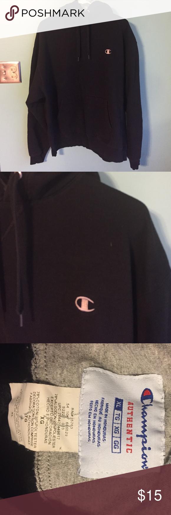 Men's black hoodie Sz XL Men's black hoodie Sz XL. In excellent condition. Champion. Champion Shirts Sweatshirts & Hoodies