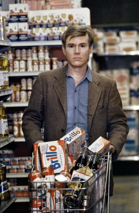 Andy Warhol shopping for art supplies, 1965.