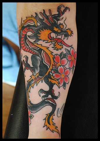 Traditional Dragon : traditional, dragon, Brandon, Montero, Tattooer, Traditional, American, Dragon, Tattoo, Dragon,, Forearm,, Designs