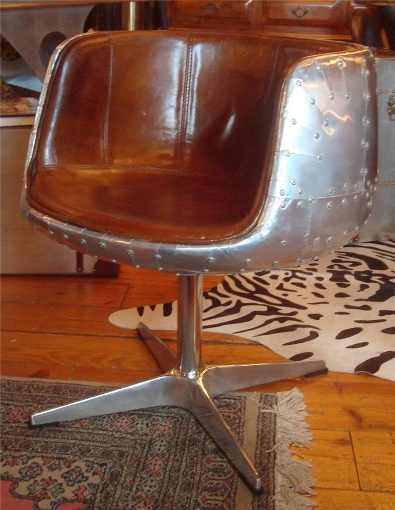 Aviation Brown Leather & Aluminium Riveted Chair - Dining ...