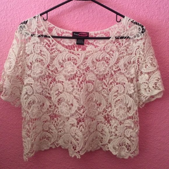 Cover up/crop NWOT! This shirt works best as a cover up! Great for the beach or for layering clothing. It's 100% cotton. Perfect condition. Smoke free home. Say What? Tops