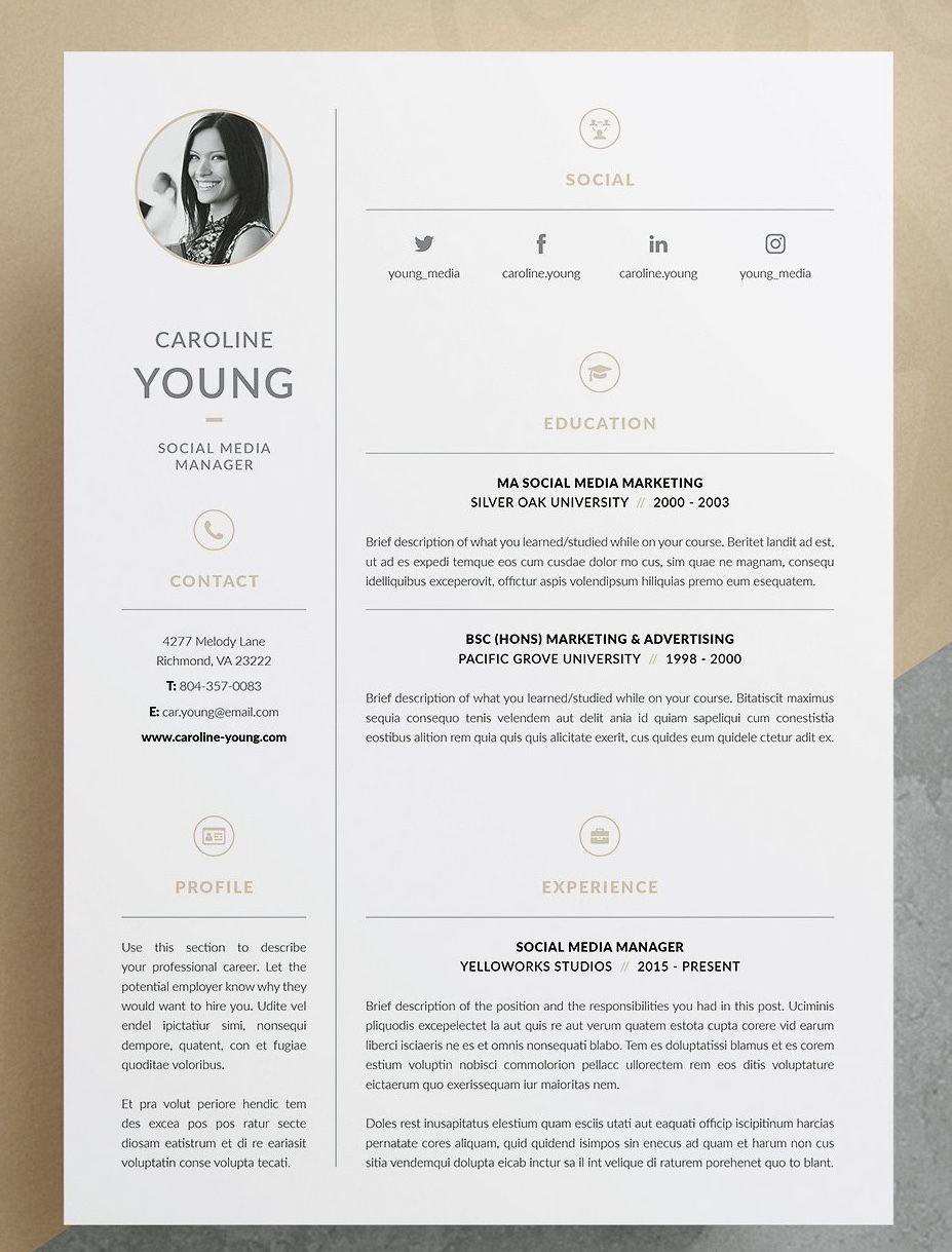 resume    cv template - caroline  3 page